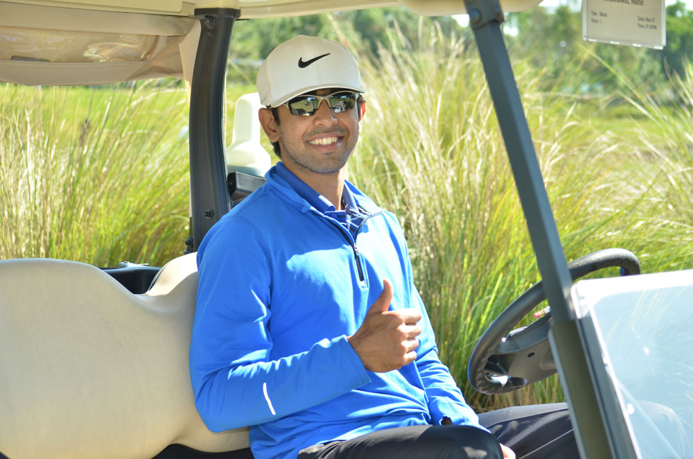 Player Sitting in a Golf Cart